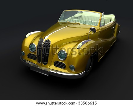 Vintage yellow car on dark background. For other views or colors of this car please check my portfolio. - stock photo