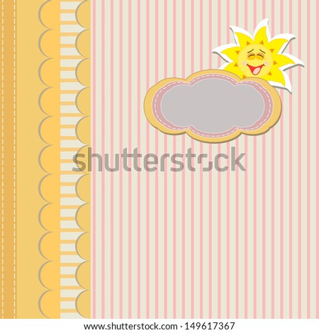vintage yellow card with striped background, sun and copy space, for invitation or greeting card, illustration