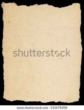 Vintage yellow torn paper isolated on black. - stock photo