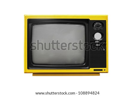 Vintage Yellow TV isolated on white background - stock photo