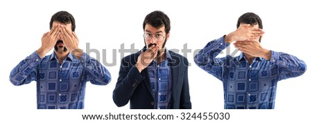Vintage young man covering his face