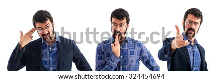 Vintage young man making suicide gesture