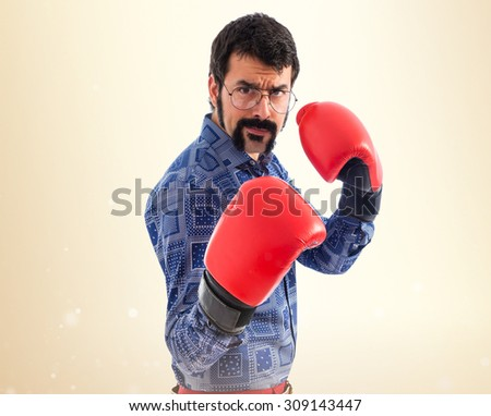 Vintage young man with boxing gloves