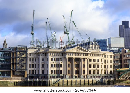 Vintners Place at Thames River in London - stock photo