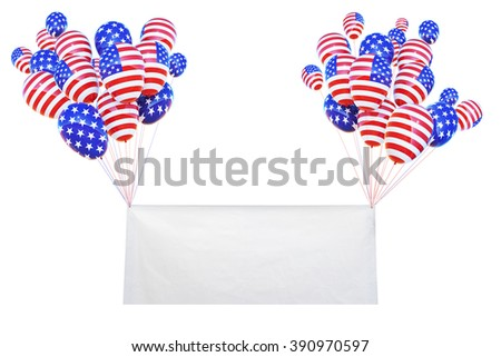 vinyl banner and balloon america flag fly on pastel sky and clipping path .pray for usa