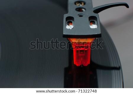 vinyl cartridge top view - stock photo