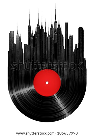 Vinyl city - stock photo