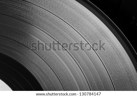 Vinyl disc (grayscale). Step between the grooves in vinyl, and its apparent width, is defined by the recorded sound