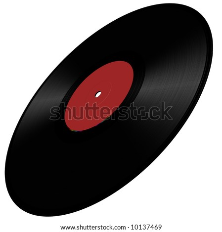 Vinyl disc illustration in perspective, red - stock photo