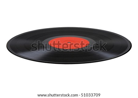 Vinyl disc isolated on white - stock photo