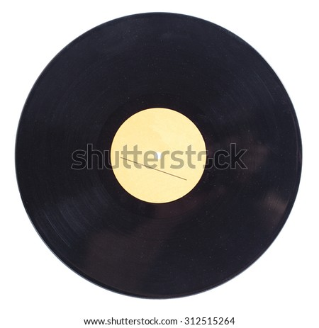 Vinyl disc isolated on white background - stock photo
