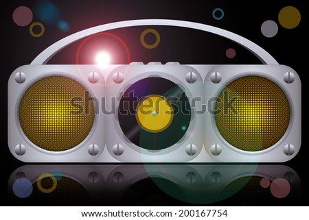 Vinyl disc player boombox at the night club disco party - stock photo