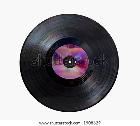 Vinyl disc with cd on top - stock photo