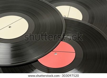 Vinyl discs isolated on white - stock photo