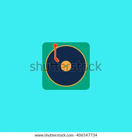 vinyl Flat icon on color background. Simple colorful pictogram - stock photo