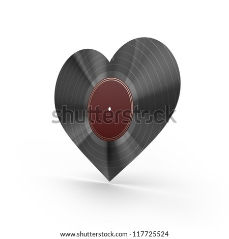 Vinyl heart - stock photo