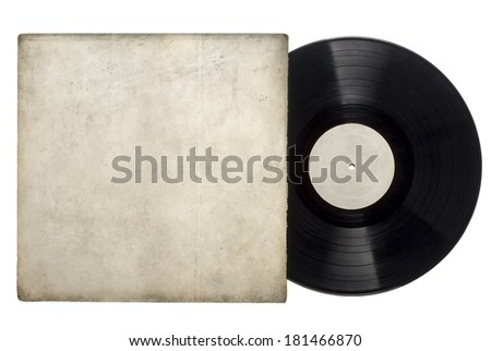 Vinyl Long Play Record with sleeve on a white background. - stock photo