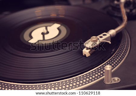 Vinyl player close up photo - stock photo