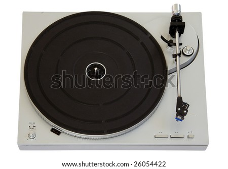 Vinyl player isolated on white background with clipping path