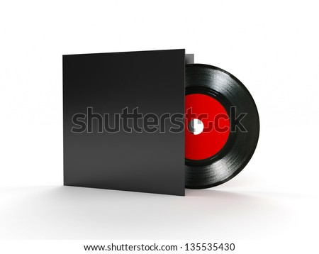 Vinyl record compact disk 3d render - stock photo