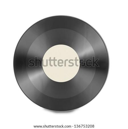 vinyl record disc isolated - stock photo