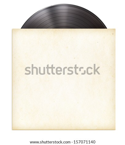 vinyl record disc LP in paper sleeve isolated - stock photo
