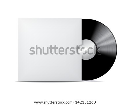 Vinyl record in blank cover envelope. - stock photo