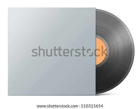 Vinyl record in blank cover envelope isolated path included - stock photo