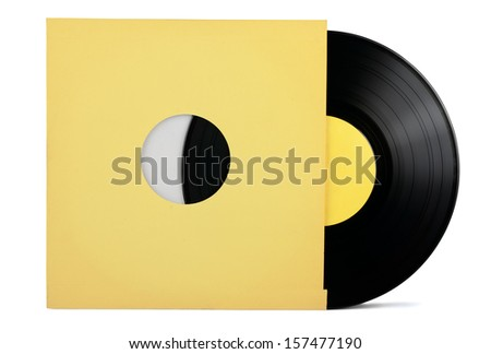 Vinyl record in paper sleeve isolated on white - stock photo