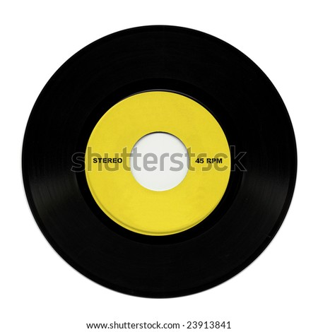 Vinyl record music recording support isolated over white - stock photo