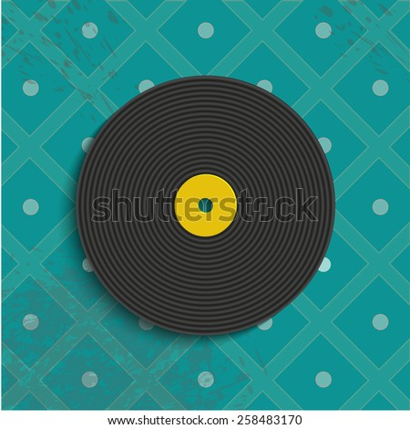 Vinyl record on a retro background - stock photo