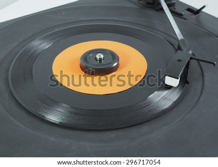 Vinyl record on a turntable record player,