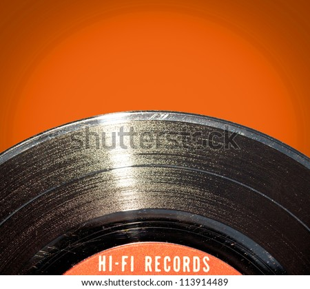 Vinyl record on red background