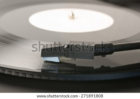 Vinyl Record or LP and record player stylus - stock photo
