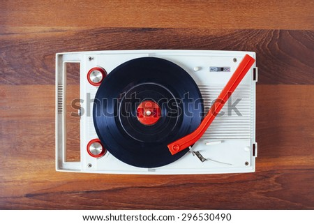 Vinyl record player Vintage retro object Top view - stock photo