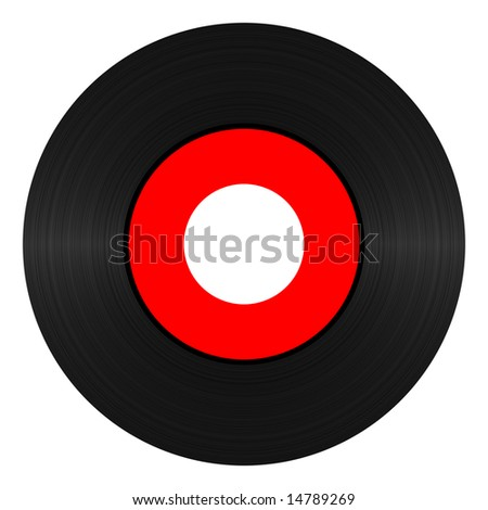 Vinyl record 45 RPM illustration over white background - stock photo
