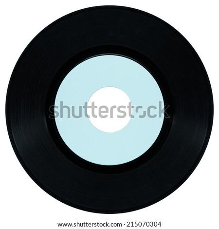 Vinyl record vintage analog music recording medium - cool cyanotype - stock photo