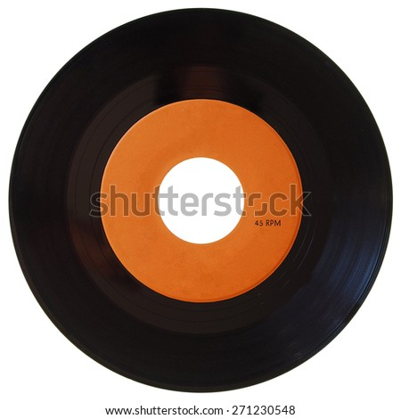Vinyl record vintage analog music recording medium, 45rpm single with orange label isolated over white