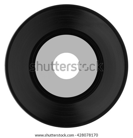 Vinyl record vintage analog music recording medium with blank grey label - stock photo
