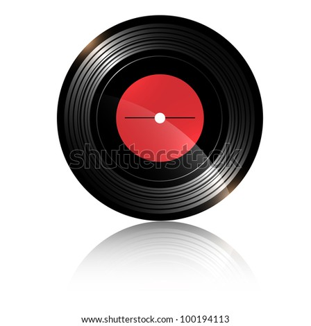 vinyl record with blank red label over white background