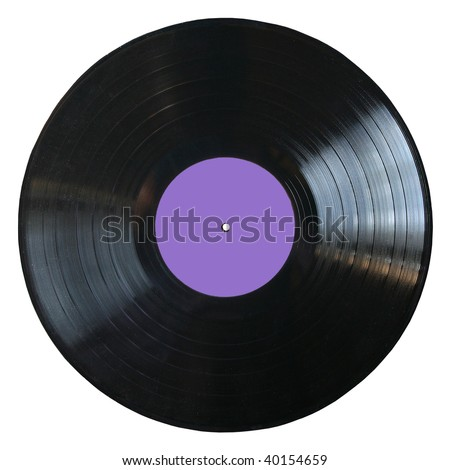 vinyl record with blank violet label isolated on white background