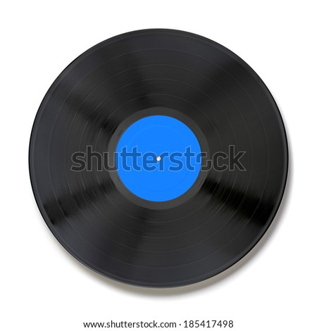 Vinyl record with blue label isolated on white