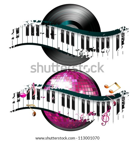 Vinyl record with disco ball and music notes - stock photo