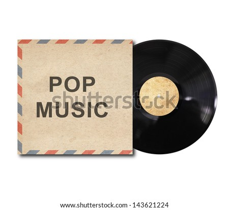 vinyl record with jazz music cover on white background - stock photo