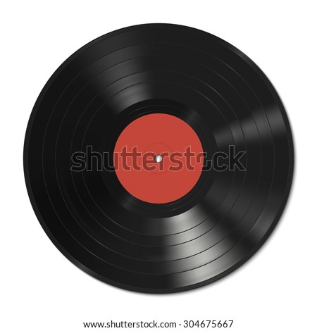 Vinyl record with red label. Raster version