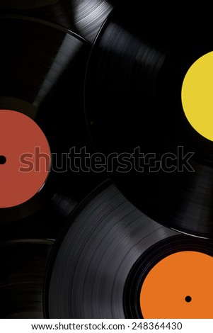 Vinyl records music background - stock photo