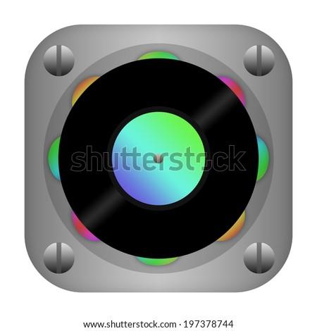 Vinyl turntable dj icon - stock photo