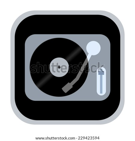 Vinyl turntable icon  - stock photo