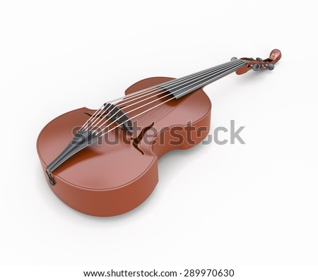 Viola close-up isolated on white background. Music instrument. 3d illustration. - stock photo