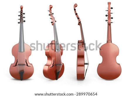 Viola D'Amore from different angles isolated on white background. 3d illustration. - stock photo